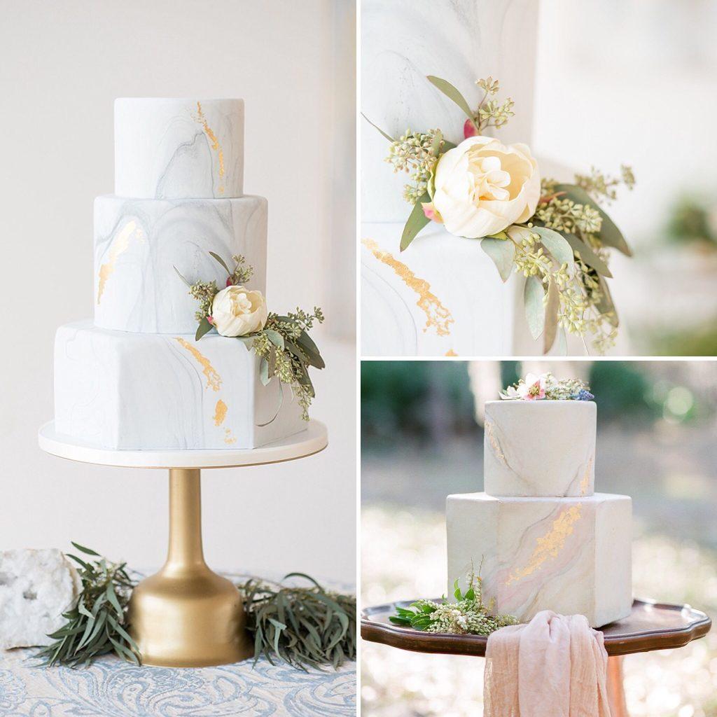 Tartas de boda efecto marmol