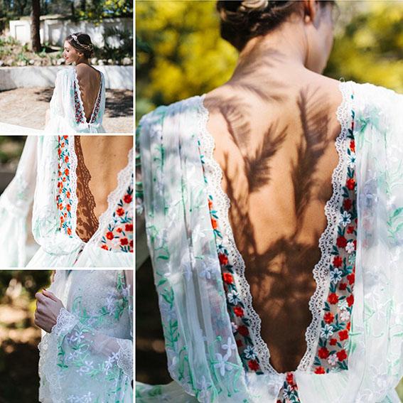Vestido novia flores bordadas