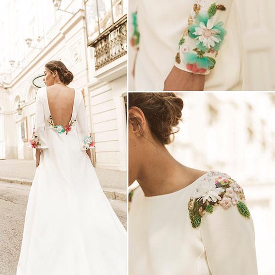 Vestidos de novia bordados en colores