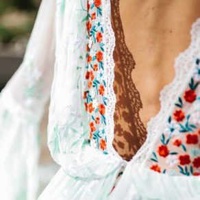 wedding dresses with embroidery colorful flowers