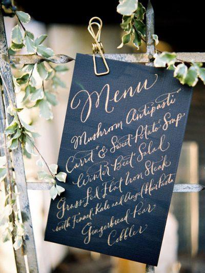 Wedding menu deco